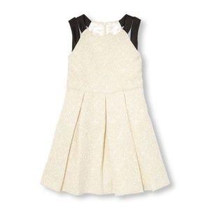 NWT Beautiful Girls Jacquard White & Gold Dress